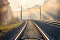 Railroad in beautiful forest in fog at sunrise in autumn - PhotoDune Item for Sale