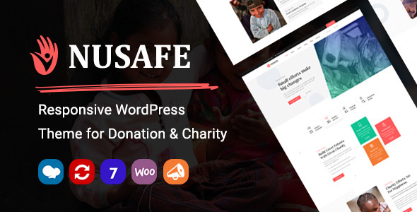 Nusafe | Responsive WordPress Theme for Donation & Charity Preview