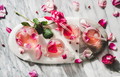Rose lemonade with ice cubes and fresh rose petals - PhotoDune Item for Sale