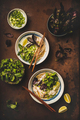 Flat-lay of Vietnamese lunch with chicken soup Pho Ga - PhotoDune Item for Sale