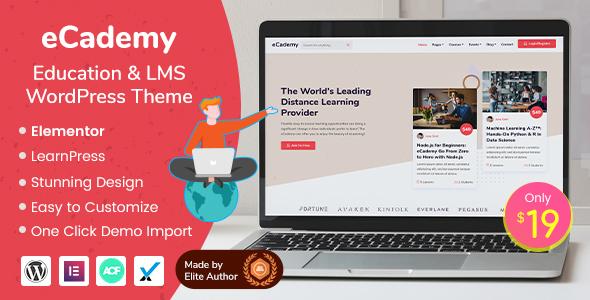 eCademy – Education & LMS WordPress Theme Preview