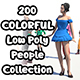 200 Colorful Low Poly People Collection - 3DOcean Item for Sale