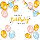Colored Birthday Balloons on White Background - GraphicRiver Item for Sale