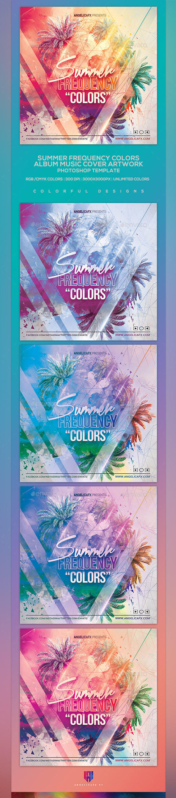 Frequency Colors - Music Album Cover Photoshop Artwork Template