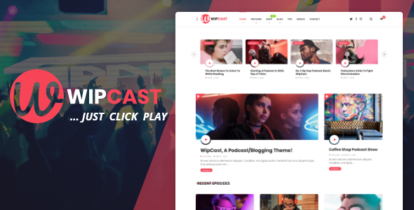 WipCast – A Podcast / Blogging WordPress Theme Preview