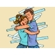 A Couple of Reconciliation. Husband and Wife Hug - GraphicRiver Item for Sale