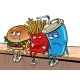 Sad Fast Food Characters Fries Cola Burger - GraphicRiver Item for Sale