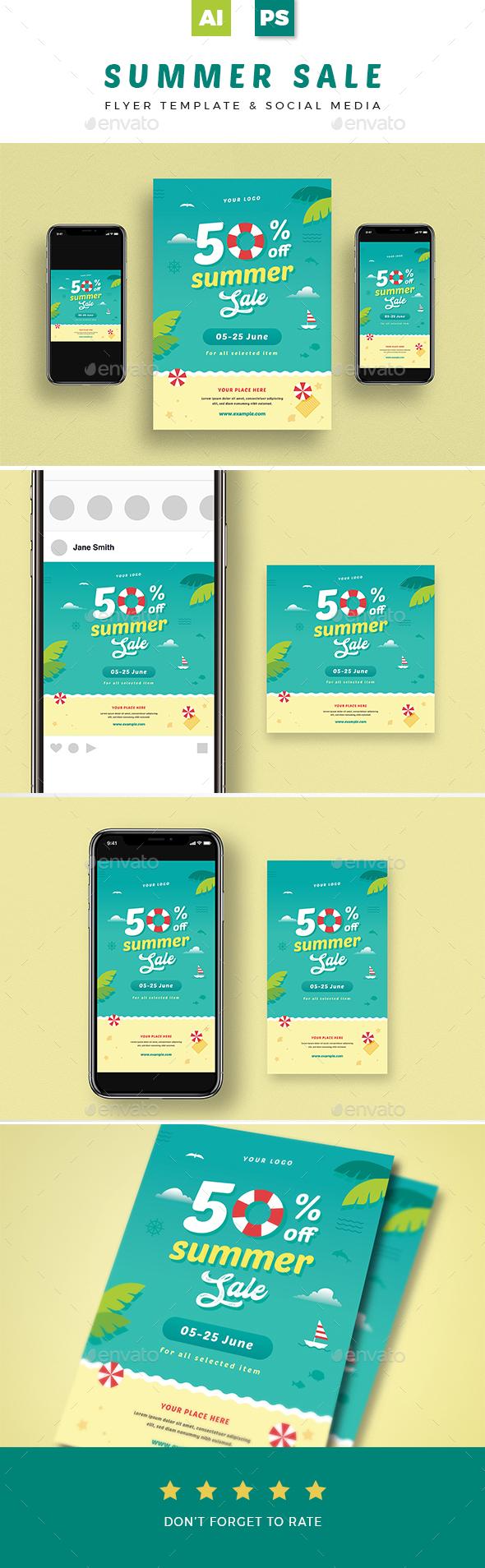 Summer Sale Flyer + Social Media