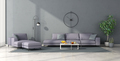 Minimalist living room with lilac furniture - PhotoDune Item for Sale