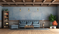 Rustic living room with old walls, blue sofa and wooden ceiling - PhotoDune Item for Sale