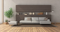 Modern living room with white sofa on brown concrete wall - PhotoDune Item for Sale