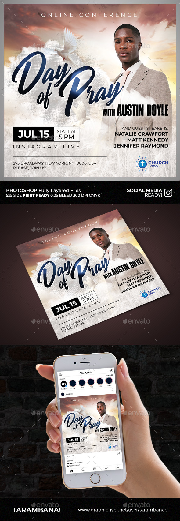 Day of Pray Church Flyer & Social Media Template