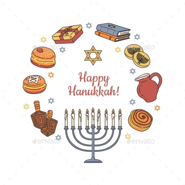 Happy Hanukkah Greeting Card or Banner Cartoon