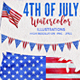 July 4th Watercolor Elements / Graphics - GraphicRiver Item for Sale
