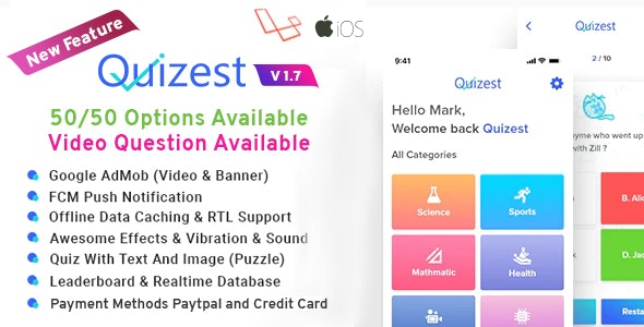 Quizest - Complete Quiz Solutions With iOS App with Laravel Admin Panel