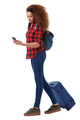 Full body young travel woman walking with mobile phone and luggage against isolated white background - PhotoDune Item for Sale