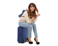 young travel woman sitting on suitcase with mobile phone - PhotoDune Item for Sale