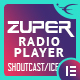 Zuper - Shoutcast and Icecast Radio Player With History - Elementor Widget Addon - CodeCanyon Item for Sale
