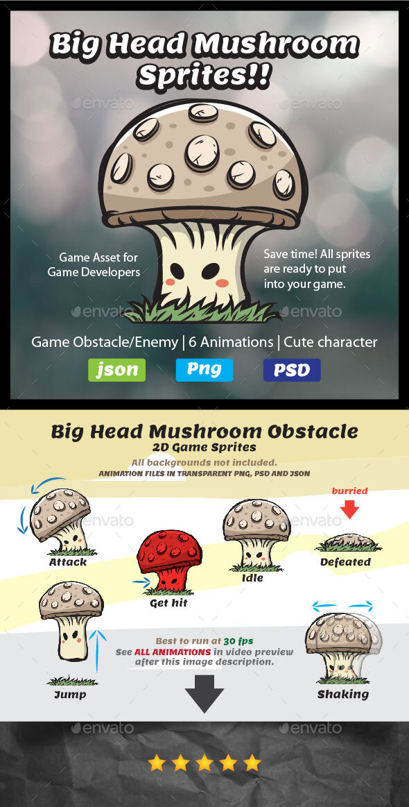 Mushroom Sprites | 2D Game Asset Obstacle | Game Enemy