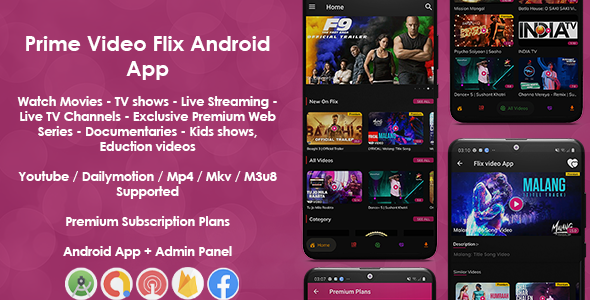Prime Video Flix App: Movies - Shows - Live Streaming - TV - Web Series - Premium Subscription Plan Download