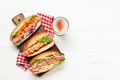 Various hot dog with vegetables, lettuce and condiments - PhotoDune Item for Sale