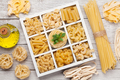 Various pasta in wooden box - PhotoDune Item for Sale