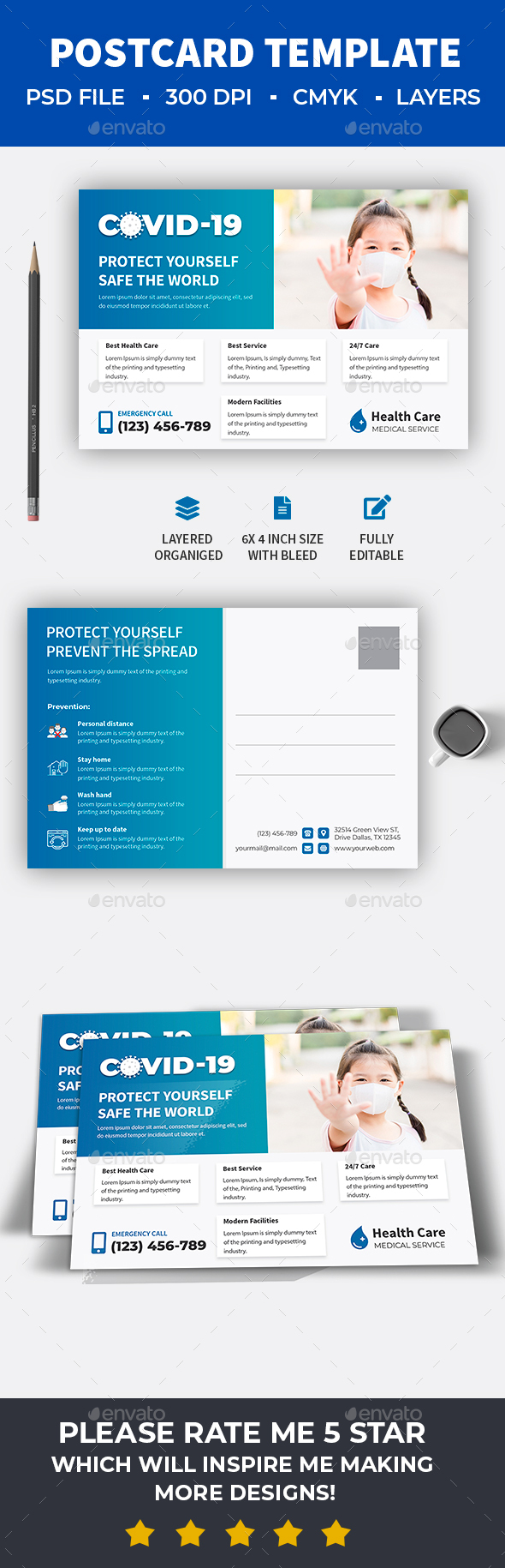 Covid-19 Health Care Postcard Template