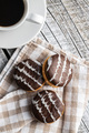 Sweet dessert with chocolate cream and chocolate icing - PhotoDune Item for Sale