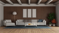 Living room with modern sofa and chaise lounge on wooden paneling - PhotoDune Item for Sale