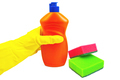 Bottle of orange with a yellow-gloved hand and sponges - PhotoDune Item for Sale
