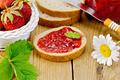 Bread with strawberry jam and chamomile on board - PhotoDune Item for Sale