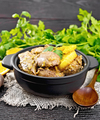 Liver with oranges in pan on burlap - PhotoDune Item for Sale