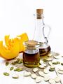 Oil pumpkin in jar and carafe on board - PhotoDune Item for Sale