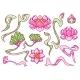 Set of Lotus Flowers. Art Nouveau Vintage Style. - GraphicRiver Item for Sale