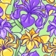 Seamless Pattern with Iris Flowers. Art Nouveau - GraphicRiver Item for Sale