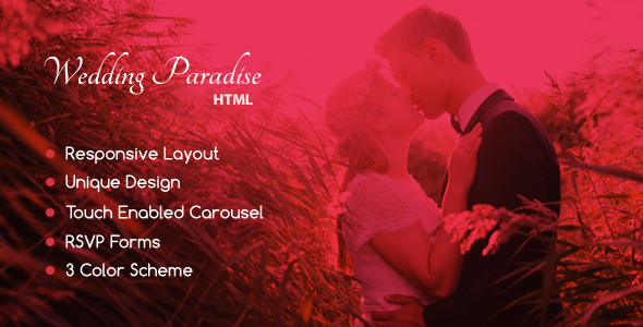 Wedding Paradise – Responsive HTML Template