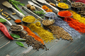 Spices on spoons with herbs closeup - PhotoDune Item for Sale