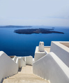 Santorini, Greece. White architecture against blue sea and sky background. - PhotoDune Item for Sale