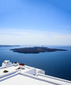 Santorini, Greece. White terrace against blue sea and sky background. - PhotoDune Item for Sale