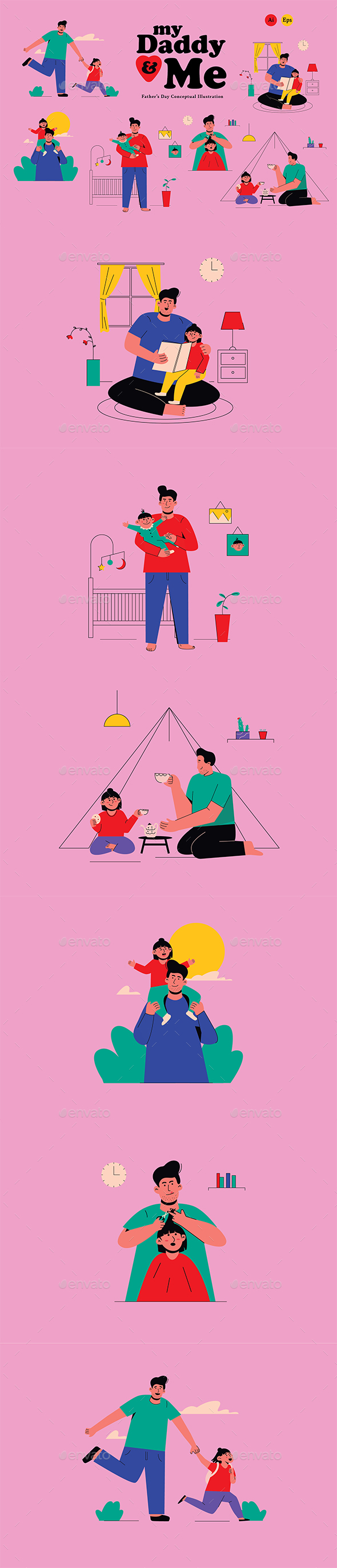 My Daddy & Me Fathers Day Illustration