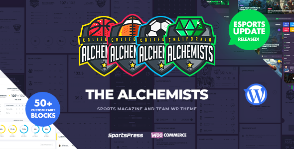 Alchemists - Sports, eSports & Gaming Club and News WordPress Theme Download