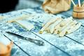 Closeup process making homemade pasta. Fresh dough - PhotoDune Item for Sale