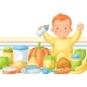 Background with Cute Little Baby and Food Items. - GraphicRiver Item for Sale