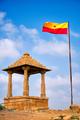 Jaisalmer flag near Bada Bagh cenotaphs Hindu tomb mausoleum . Jaisalmer, Rajasthan, India - PhotoDune Item for Sale