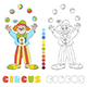 Circus vector clown juggler coloring book page - GraphicRiver Item for Sale