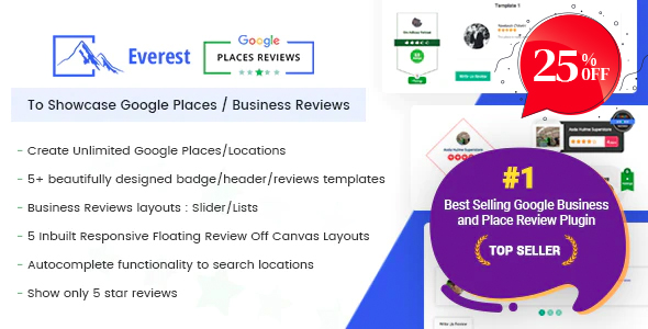 Everest Google Places Reviews - Best WordPress Plugin To Showcase Google Places / Business Reviews Download