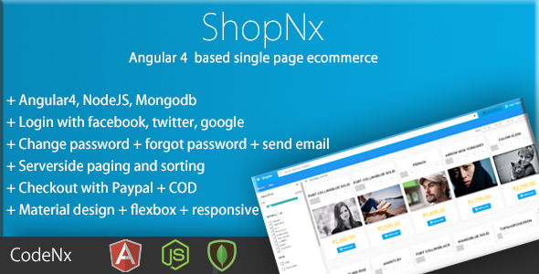 ShopNx - Angular8 Single Page Shopping Cart Application