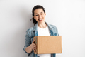 Happy woman with cardboard box. - PhotoDune Item for Sale