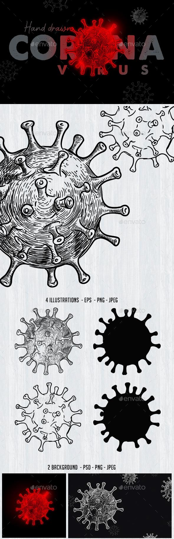 Hand Drawn Corona Virus Illustration