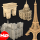 5 Famous Landmark France Sightseeing 3D Print Low Poly - 3DOcean Item for Sale